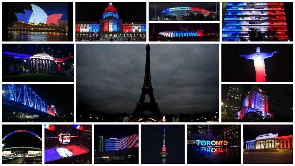 Toen #Parijs gisteren zijn licht uit deed, deed de rest van de wereld het licht aan. (via fb)   #ParisAttacks https://t.co/UexkTYZk1E