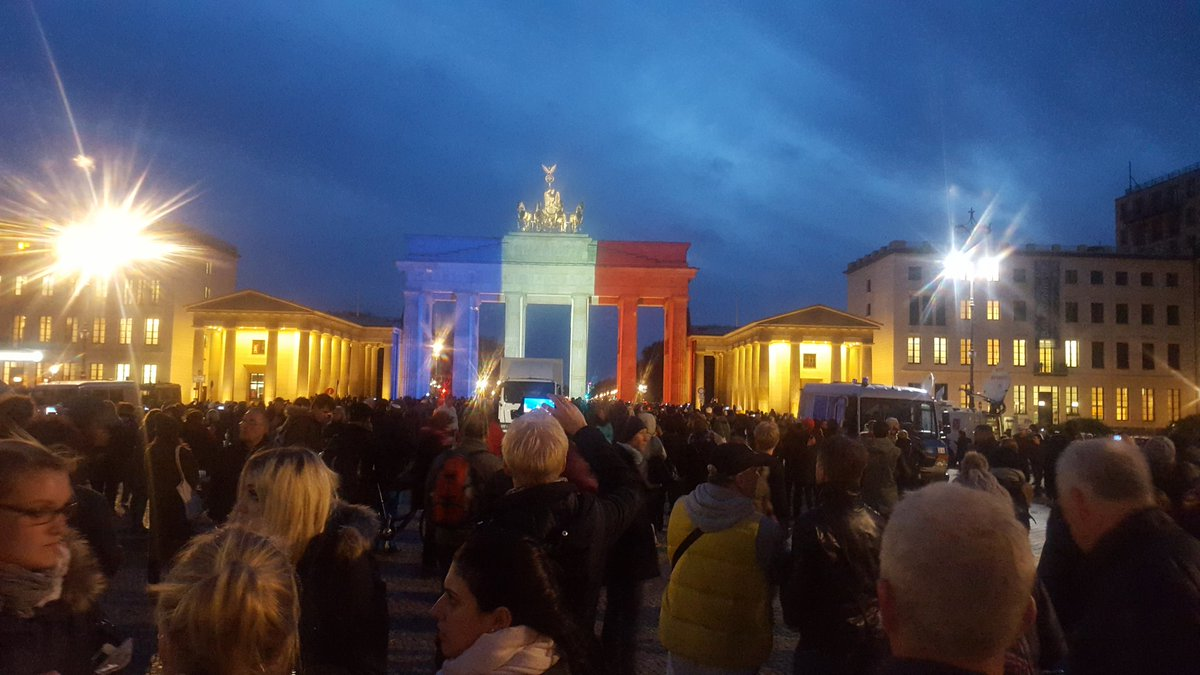 Berlin's Brandenburg Gate lit up in the French colors in honor of Paris victims