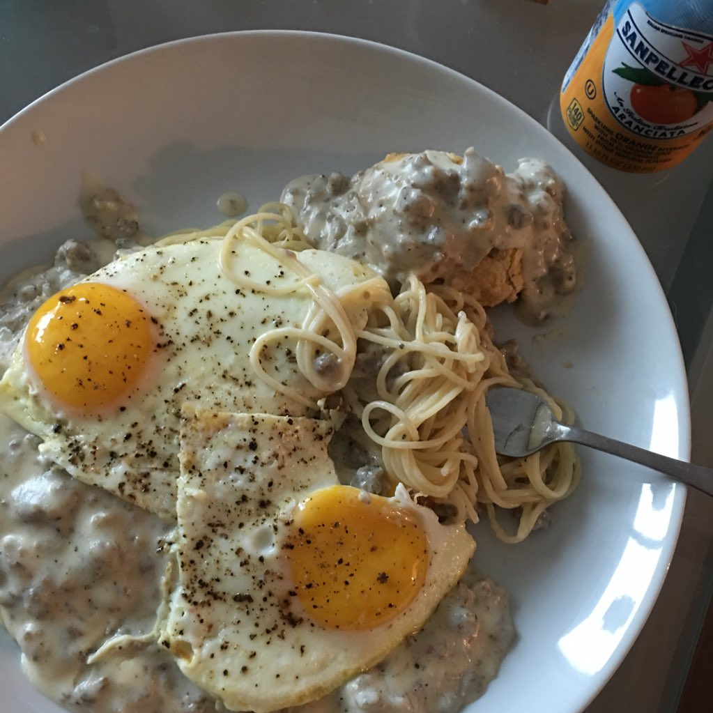 THANK U 4 the inspo for this bfast sausage gravy spaghetti-Id be so much thinner if I