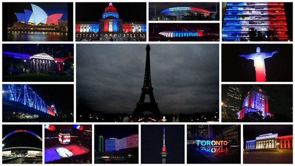 When the City of Lights goes dark, the rest of the world lights up for her. #PrayersForParis #ViveLaFrance