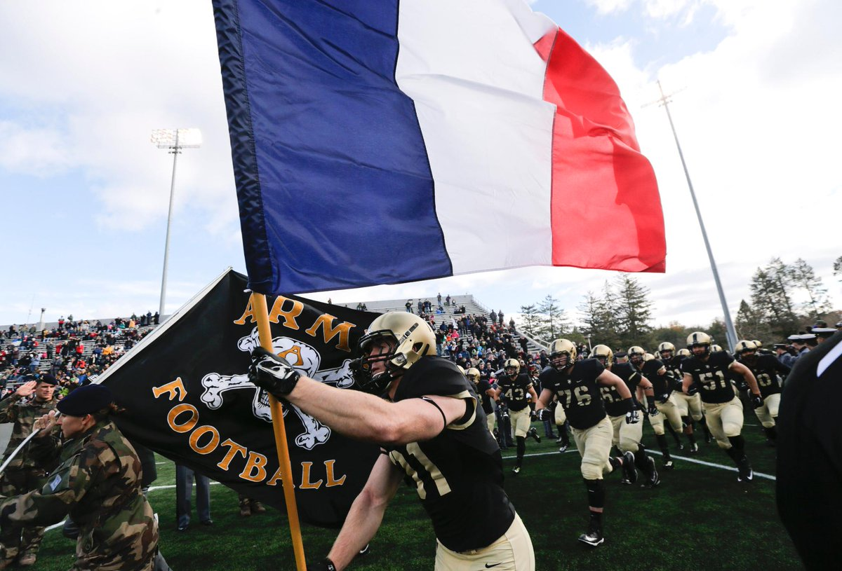 Army football took the field today carrying the French flag. https://t.co/o01hpLlvkH