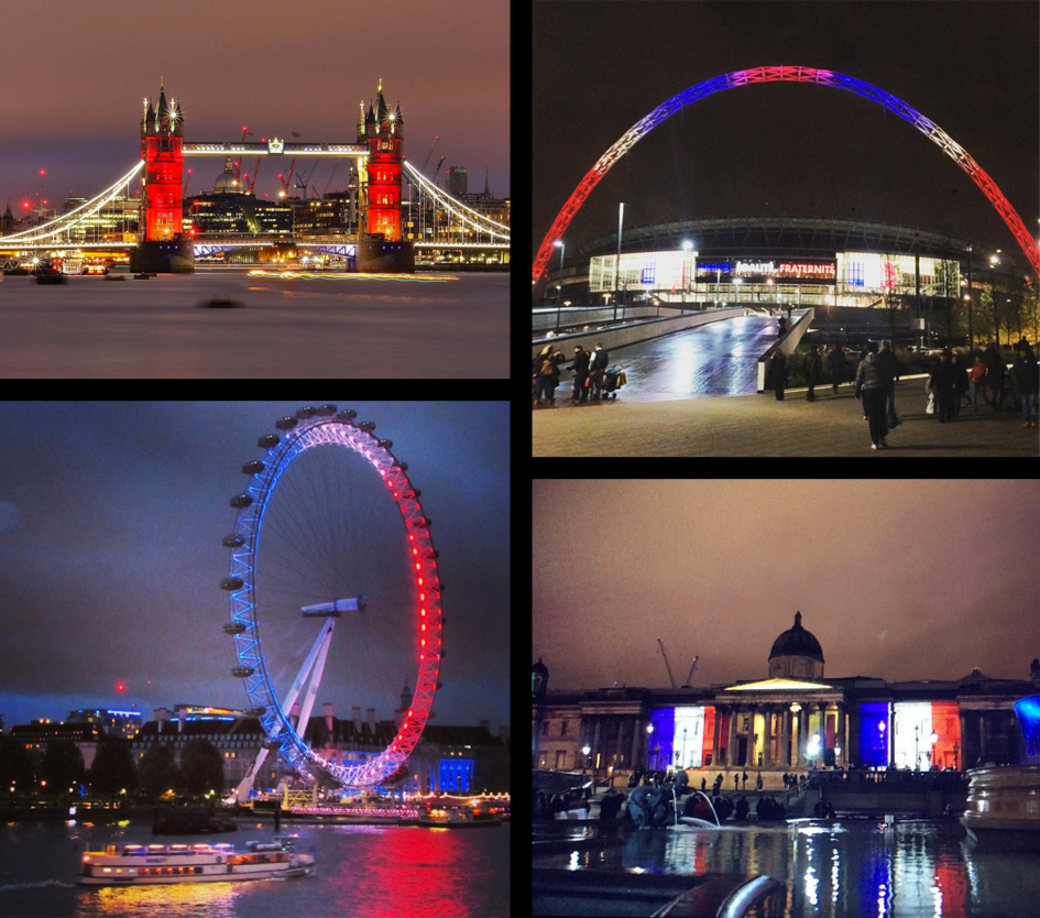 Tower Bridge, Wembley Stadium, the London Eye and National Gallery lit up for Paris tonight. https://t.co/73hBYPRtho