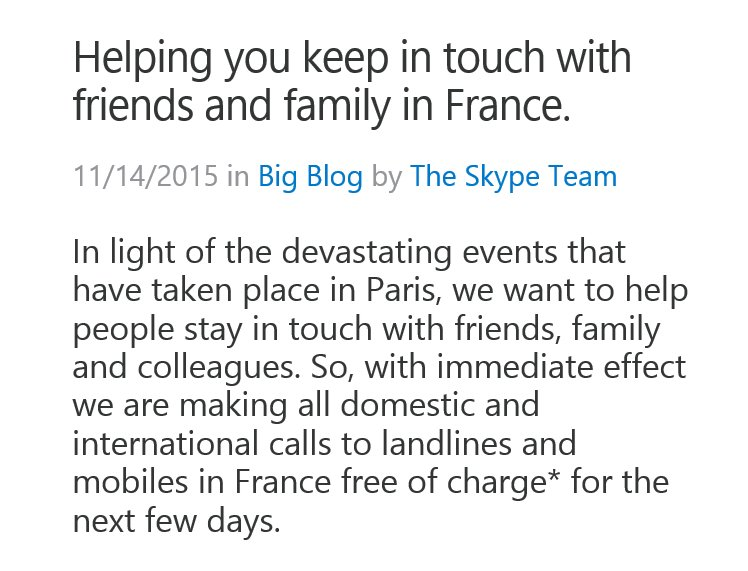 Bravo, @skype: all domestic & intl calls to France are free of charge https://t.co/IMoMtzbTk5 https://t.co/89URssq9Qm