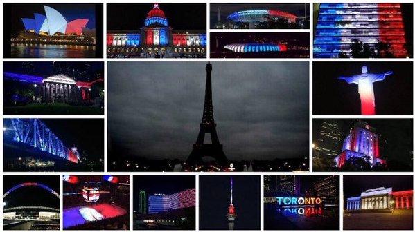 La Torre Eiffel se apagó en señal de duelo ... pero el resto del mundo prende sus luces por ella. https://t.co/WusaGlb5Tf