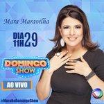#MaraNoDomingoShow - Daqui a pouco, a apresentadora/cantora @MMaraMaravilha estará ao vivo no @PgmDomingoShow. https://t.co/DTLmzFCv7C
