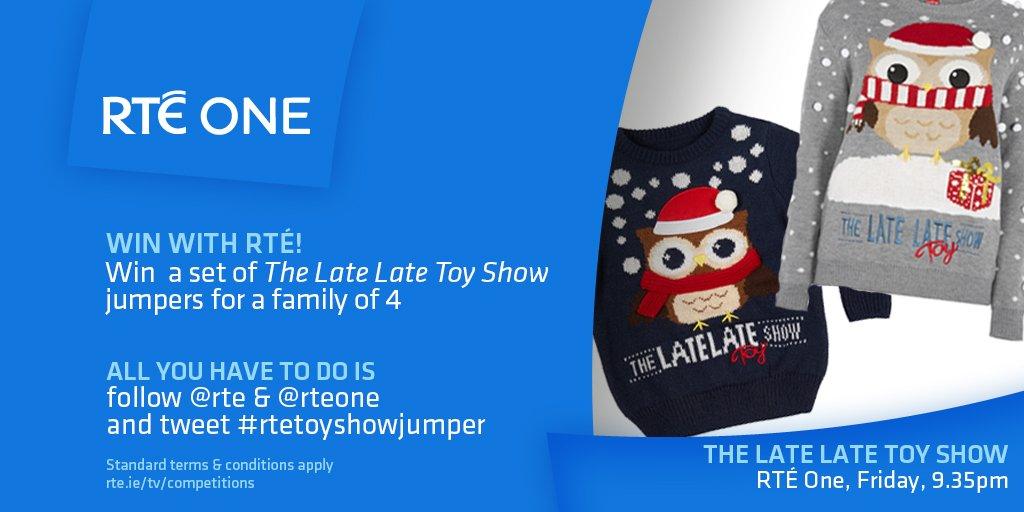 @rte: Like the jumpers?! Win a family set! #LateLateToyShow   Follow @rte and @RTEOne and tweet #rtetoyshowjumper   https://t.co/YHrqKsZhd4