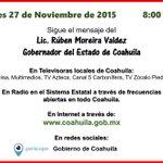 Sigue el mensaje del #4oInforme del Gob @rubenmoreiravdz en punto de las 8am #Coahuila a través de : https://t.co/sgFvaP5Q17