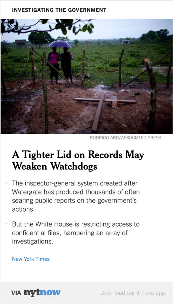 So much for the most transparent administration in history. Tighter Lid on Records https://t.co/hYx0XBLPhF https://t.co/LJ3keDAekI