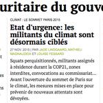 Létat durgence installe larbitraire. Démonstration de @mediapart par le #93 et par la #COP21. A lire… durgence. https://t.co/RWJ2wQwnft