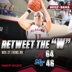 .@AlabamaWBB wins 64-46 against Middle Tennessee. Hannah Cook led the Tide with 15 points & 15 rebounds. #RollTide https://t.co/8NVTTcRzL6