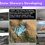 Snow showers may reduce visibility at times from the Flagstaff area southward to Sedona. #azwx https://t.co/Jrz50JXBJV