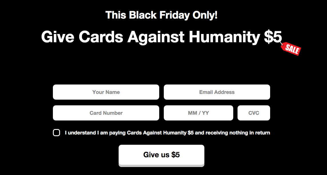 Cards Against Humanity has made over $40,000 selling nothing for Black Friday https://t.co/5efRu1n2TC https://t.co/AyUF8dM1tl