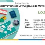Conoce el proyecto de #LeyMovilidadHumana en tu provincia. #Loja, sábado 28 de noviembre, a las 08:00 https://t.co/NfGunjqqAl