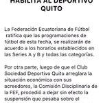 Comunicado de la FEF ratifica programación de la fecha 19 y anuncia que levanta suspensión del Dep Quito https://t.co/41pn9EWn7x