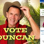 Use the app or Call 09020 442403 or text 6442403 to keep Duncan IN #ImACeleb pls RT poster: https://t.co/ZD8QMcW1bA https://t.co/19NMzINCJG