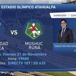 @UCatolicaEC vs. @ClubMushucRuna1 Partidazo en @DIRECTVEcuador @RC_MACHADO182 @Sebas_Machado https://t.co/AvatbCUWNL