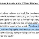 Heres Planned Parenthoods response to the Colorado Springs shooting (emphasis mine) --> https://t.co/4kGgyCA7E2 https://t.co/zxrYrSFlA7