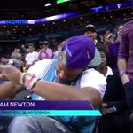 VIDEO: Cam Newton hits the dab sitting courtside at the Hornets game #DabOnThemFolks https://t.co/imb7YInKqT https://t.co/UXNx55xKbY