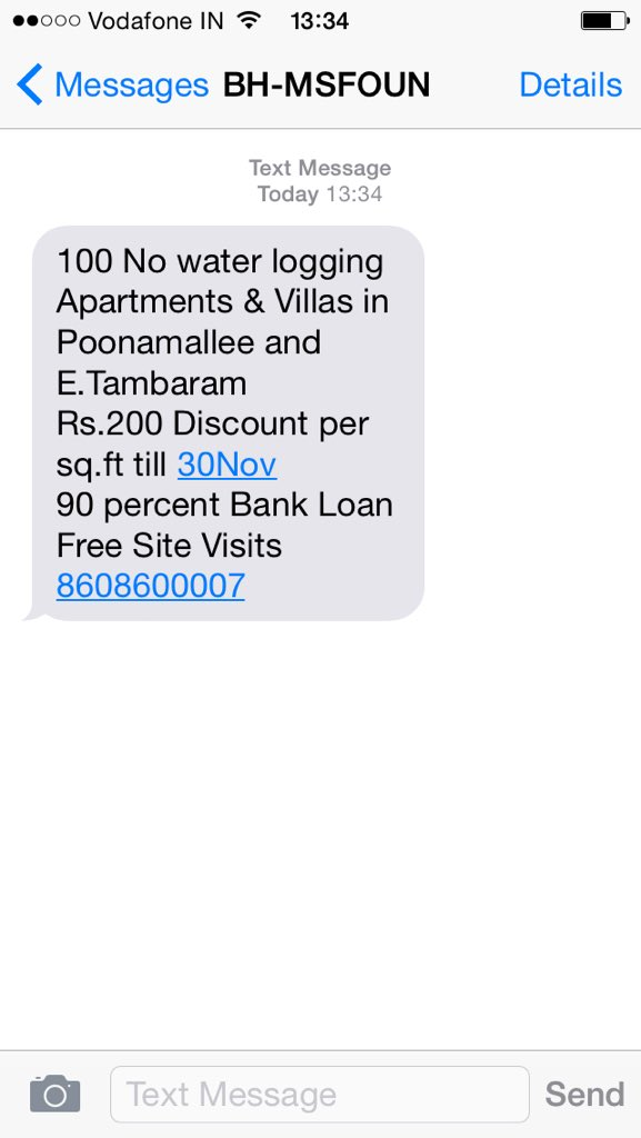 Effect of #chennairains on sms marketeers / spammers. #realtimemarketing https://t.co/OkLn9M331W
