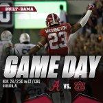 Roll Tide its Game Day! @AlabamaFTBL takes on Auburn at 2:30 p.m. on CBS. #BAMAvsAUB https://t.co/jo5yjHAt6E