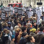 Omg ..millions of protesters on streets out side 10 downing street London against govt #DontBombSyria #Syria https://t.co/zWtLexymjo