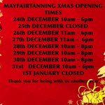 Mayfairtanning Xmas opening times #londonislovinit #massage #spraytan #waxing #threading #nails #eyelashextensions https://t.co/PX1v11hikL