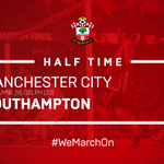 HALF TIME: #MCFC 2-0 #SaintsFC Early goals from De Bruyne and Delph have the hosts in control. Fonte off injured. https://t.co/zL7uKAF4ZN