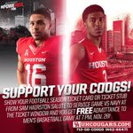 Show your @UHCougarFB ticket from yesterday and get into todays @UHCougarMBK game for free! Tip-off at 7pm. https://t.co/g0Wuu5wLfy