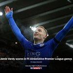 BREAKING: Jamie Vardy has set a new Premier League record. Watch #SNF now on SS1: https://t.co/SGorh1bqgM https://t.co/TFIOkWZwWT