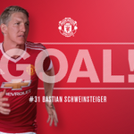 45+1 - GOAL! Leicester 1 United 1. Schweinsteiger heads home Blinds pinpoint corner to draw the Reds level. https://t.co/DhTSB7mZib