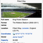 Somebody changed King Power Stadiums Wikipedia to show its now owned by Jamie Vardy. #VardyParty (h/t @Klanning0) https://t.co/NA224qOWZK