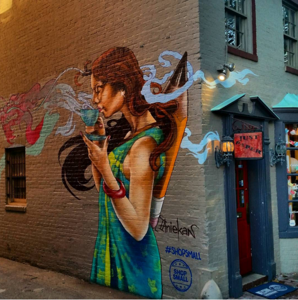 Artist @sketch272000 (Aniekan Udofia) did a commission for #SmallBizSat: mural at 3232 P Street! #acreativedc https://t.co/aR3DwgqmCe