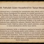 M.Fethullah Gülen Hocaefendi, Diyarbakır Baro Başkanı Tahir Elçi ve şehit polislerimiz için taziye mesajı yayınladı: https://t.co/8ub7CUg6dn