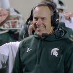 Every time Mark Dantonio smiles, a lineman gets his touchdown wings. Michigan State ROLLING to Indy. https://t.co/kVKH25h0YG