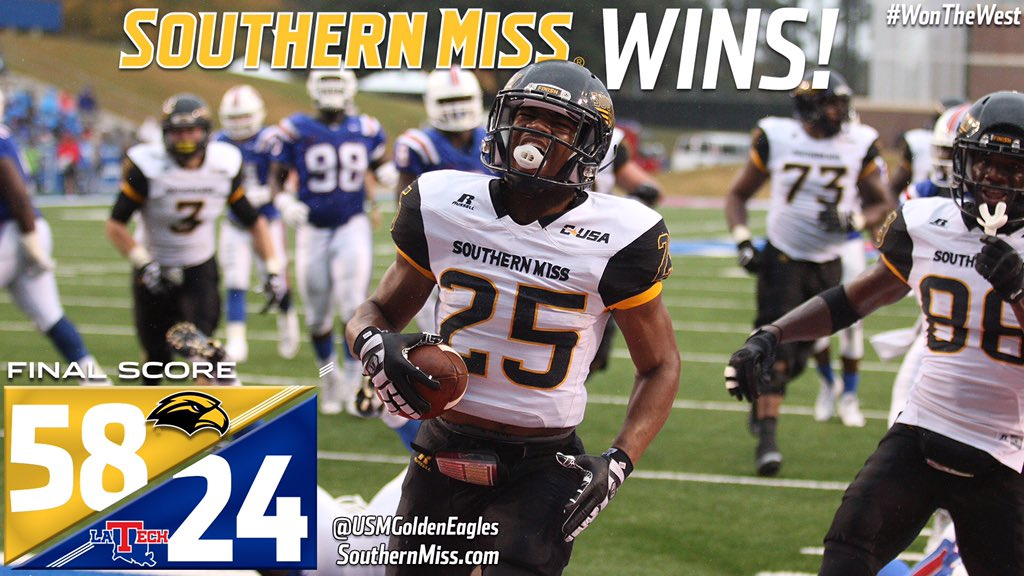 .@SouthernMissFB Wins The West with an emphatic 58-24 win at LA Tech! We're going to the C-USA Championship! #SMTTT https://t.co/BFarzZYKNm
