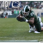 The Spartans scored a pair of touchdowns in the 2nd quarter, including a 6-yard scamper by Holmes. MSU leads 20-10. https://t.co/nRRD1Wulka