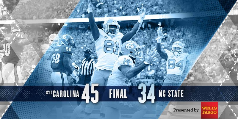 CAROLINA VICTORY! #UNCFB will take an 11-game winning streak to Charlotte after a 45-34 win! #GoHeels #GotYourBack https://t.co/yOWoexvlqI
