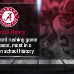 Derrick Henry is now tied for the most career 200-yard rushing games in Alabama history (with Bobby Humphrey) https://t.co/4EATefYvpt