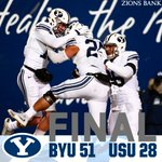 BYU 51 - USU 28 | FINAL  The Cougars will bring the Old Wagon Wheel back to Provo!! #GoCougs #BYUFOOTBALL #BYUvsUSU https://t.co/EfUXuXJaEZ