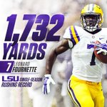 After 37 years theres a new single-season rushing record holder at LSU! Congrats, @_fournette! #GeauxTigers https://t.co/mqPXBTVaSn