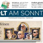 Titelseite der @welt am Sonntag mit neuem Logo. Und Titelgeschichte über Männer mit Sonnenbrillen. https://t.co/AceXXPq8ds