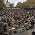 A sea of shoes in Place de la Republique in Paris: protests are banned here so you have to imagine them #COP21 https://t.co/AetuepjzAt