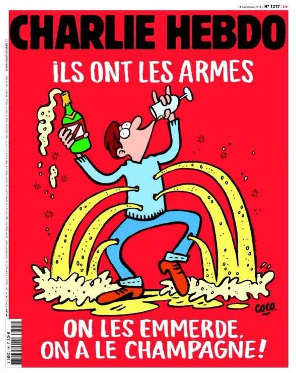 Charlie Hebdo cover: They have weapons. Fuck them. We have champagne. https://t.co/iqJ4A7pp29