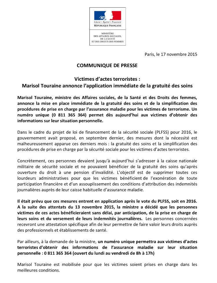 Victimes d'actes terroristes : @MarisolTouraine annonce la gratuité des soins immédiate >> https://t.co/qm6RTZLHzs https://t.co/3npCLf9tHv