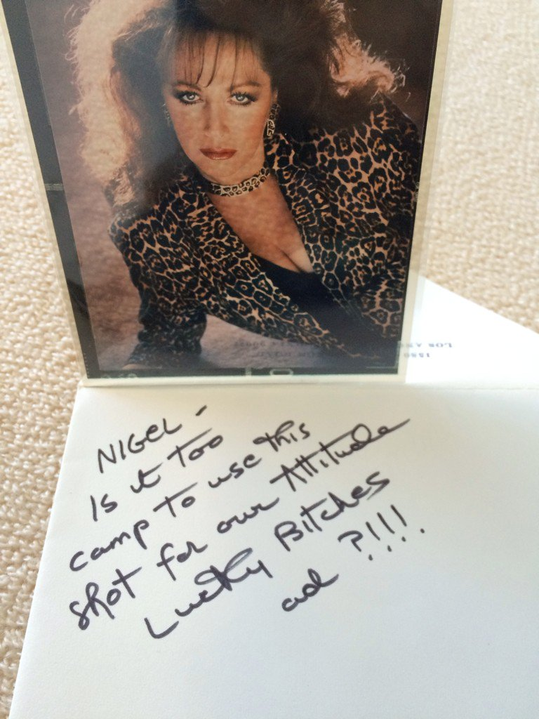 Laughing although I miss her, this found today - @jackiejcollins always funny and tongue in cheek  @MrMatthewTodd https://t.co/WiKI6VB57o