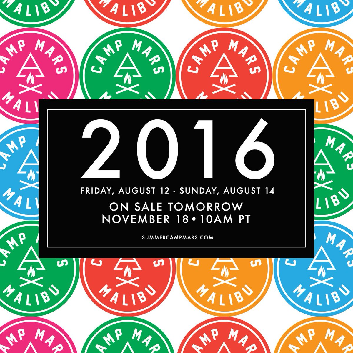 RT @30SECONDSTOMARS: Ready for Music, Art, Nature, Friends, Food + FUN? Tix for @SummerCampMars 2016 ON SALE TOMORROW, NOV 18 10AM PT! http…