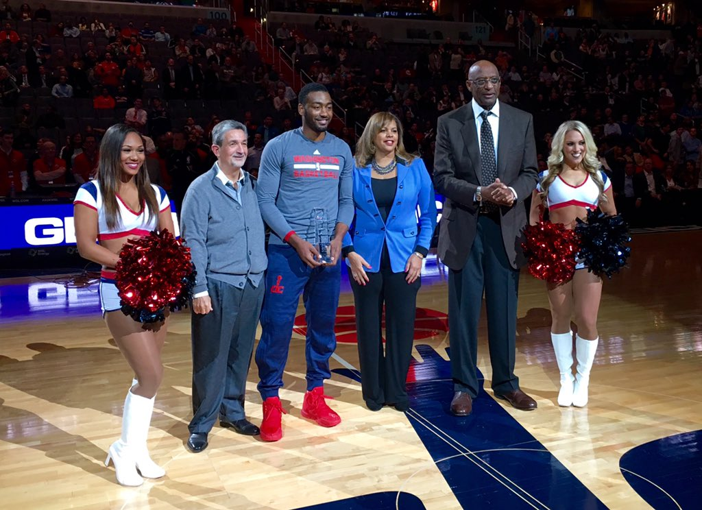 Congrats to @JohnWall on winning the @NBA Community Assist Award - well deserved! #WizCares #dcRising #WizBucks https://t.co/uuTxIQyc4K