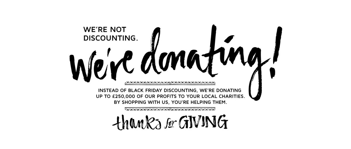 Instead of #BlackFriday discounting, we're donating to your local charities! Find out more: https://t.co/AUENY4IyQ4 https://t.co/rYI78ukQL5