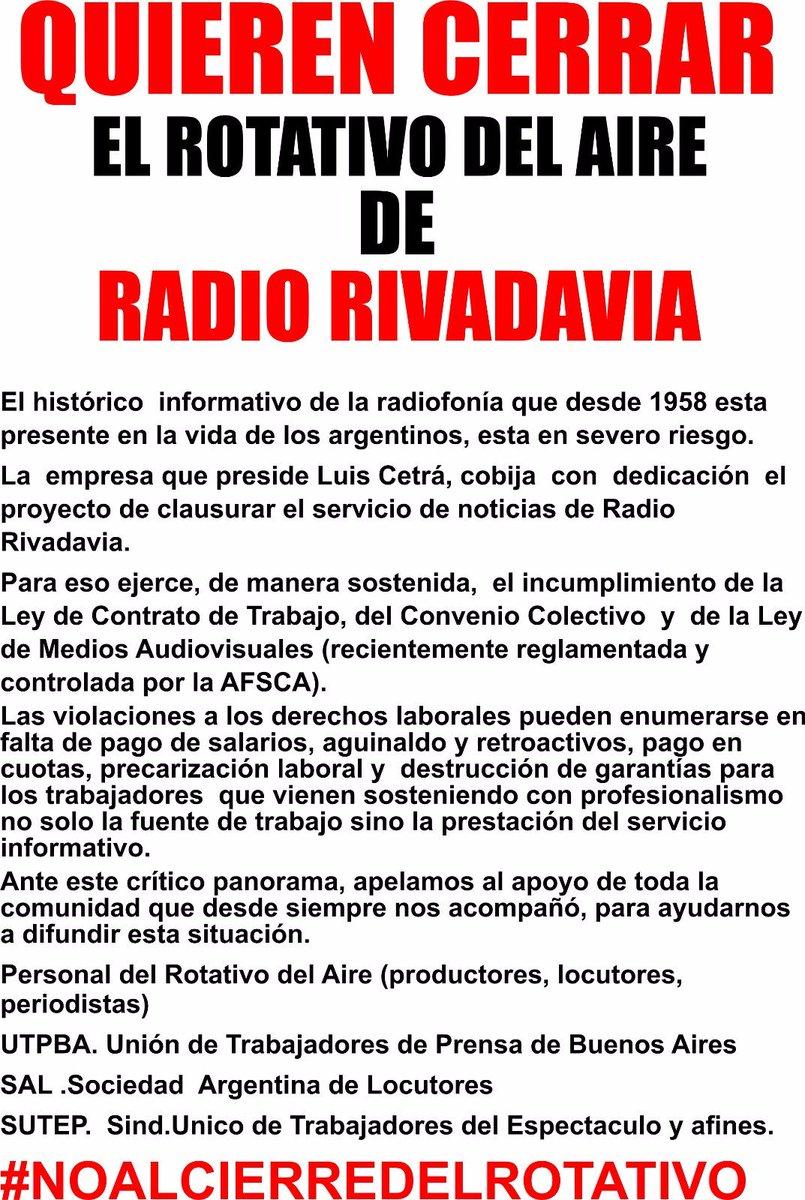 URGENTE. QUIEREN CERRAR EL INFORMATIVO DE RADIO RIVADAVIA. https://t.co/rXye440LPH
