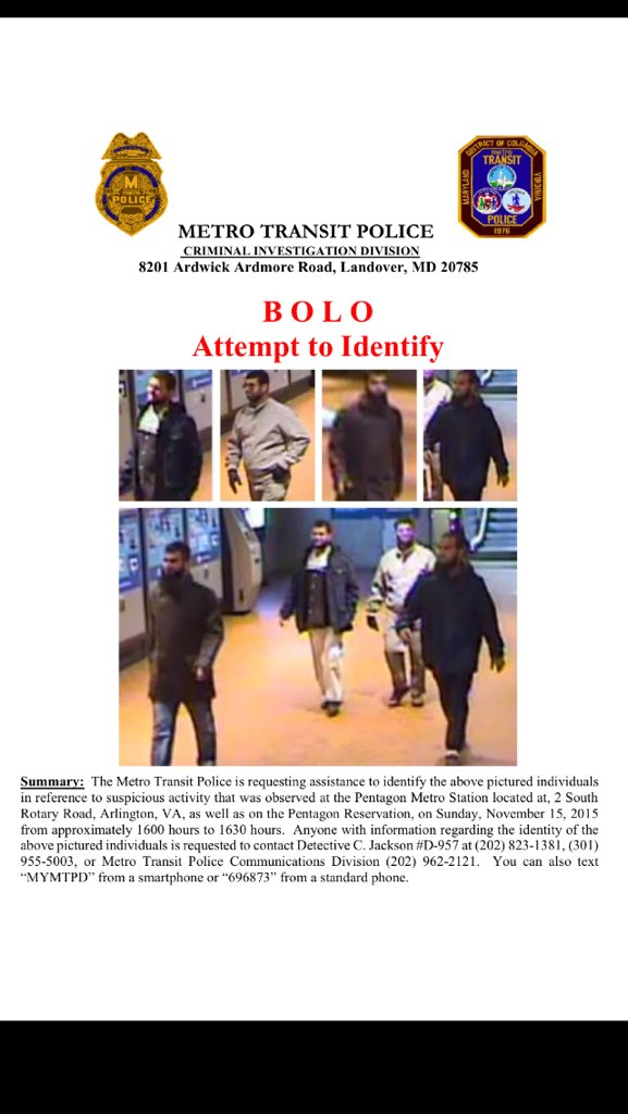 This is scary: Be On The Lookout alert for these men on DC metro at Pentagon. Note it was a warm on Sunday. https://t.co/hkgTuhBgKx